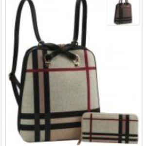 2 Piece Plaid Backpack